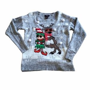 Ugly Christmas Sweater Elf Reindeer Pom Poms Small